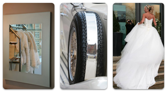 Contemporary mirrors, cars and gowns